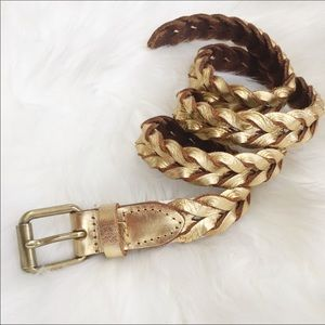 J. crew metallic leather gold braided belt S/M